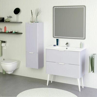 Mckee Modern 32 Wall-Mounted Single Bathroom Vanity Set with Mirror Base Finish: Gray