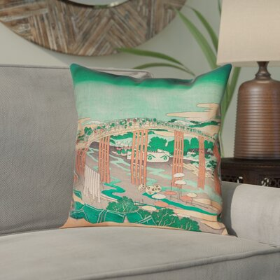 Enya Japanese Bridge Square Linen Pillow Cover Color: Green/Peach, Size: 16 x 16