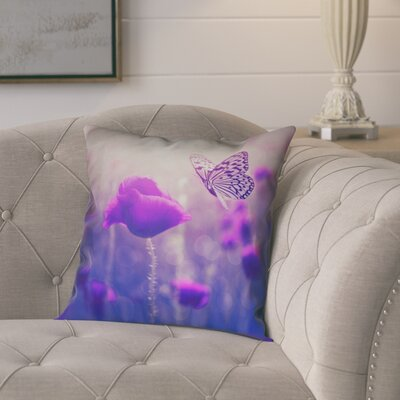 Mariani Butterfly and Rose Double Sided Print Pillow Cover Size: 16 H x 16 W, Color: Purple