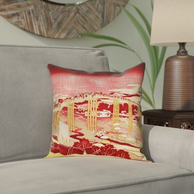 Enya Japanese Bridge Waterproof Throw Pillow Color: Red/Orange, Size: 16 x 16