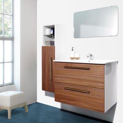 Auten Modern 32 Wall-Mounted Single Bathroom Vanity Set with Mirror Base Finish: Oak