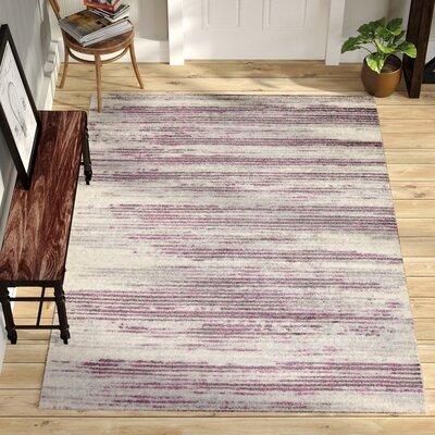 Tierra Stripe Ivory/Purple/Gray Area Rug Rug Size: 53 x 73