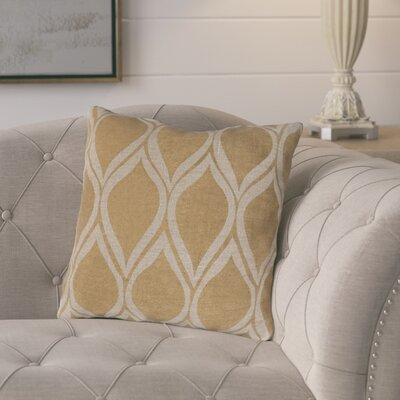 Eglantine Pale Linen Throw Pillow Size: 18 H x 18 W x 4 D, Color: Gold / Beige, Filler: Down