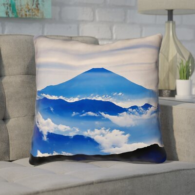 Enciso Fuji Suede Throw pillow Size: 18 H x 18 W, Color: Blue