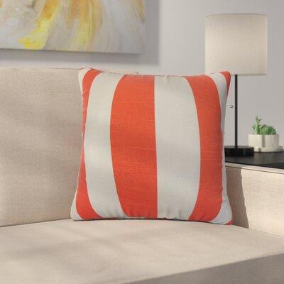 Strauser Stripes Cotton Throw Pillow Color: Orange