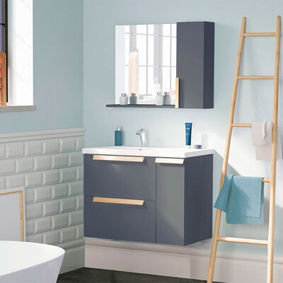 Mckeehan Modern 32 Wall-Mounted Single Bathroom Vanity Set with Mirror Base Finish: Gray