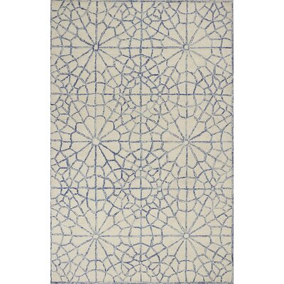 Gilleland Hand-Tufted Wool Ivory/Blue Area Rug Rug Size: Rectangle 86 x 116