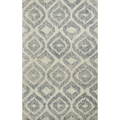 Gilleland Hand-Tufted Wool Ivory/Blue Area Rug Rug Size: Rectangle 76 x 96