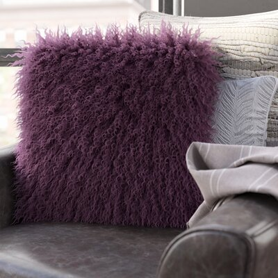 Edgecumbe Mongolian Sheepskin Throw Pillow Color: Purple