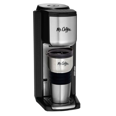 Mr. Coffee BVMC-SCGB200 Single Cup Coffee Maker with Built-In Grinder, Black/Silver 24254525