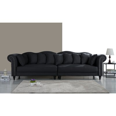 Johnstown Large Chesterfield Sofa Upholstery: Black