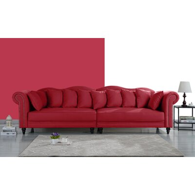 Johnstown Large Chesterfield Sofa Upholstery: Red