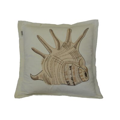 Hendershot Conch Embroidery Cotton Throw Pillow