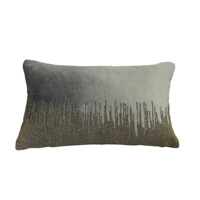 Nyman Beaded Cotton Lumbar Pillow Color: Silver