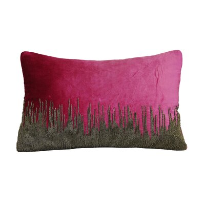 Nyman Beaded Cotton Lumbar Pillow Color: Pink