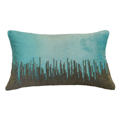 Nyman Beaded Cotton Lumbar Pillow Color: Aqua