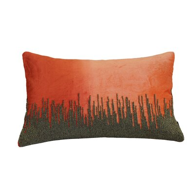 Nyman Beaded Cotton Lumbar Pillow Color: Orange