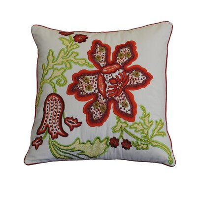 Kastelholm Lily Embroidered Cotton Throw Pillow