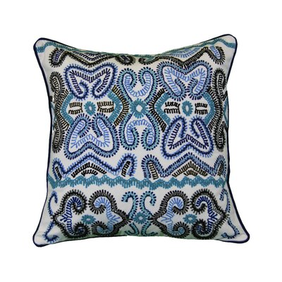Nyack Embroidered Cotton Throw Pillow