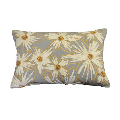 Junipero Embellished Daisy Cotton Lumbar Pillow