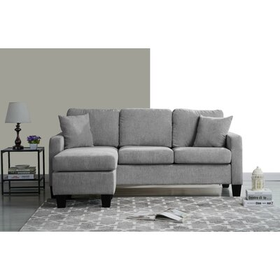Welcher Modern Sectional Upholstery: Light Gray