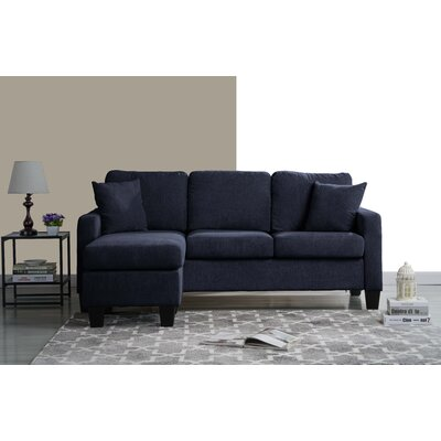 Welcher Modern Sectional Upholstery: Navy