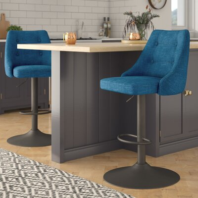 Judkins Adjustable Height Bar Stool Upholstery: Blue