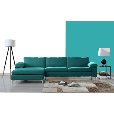 Barto Modern Large L Shape Sectional Upholstery: Turquoise