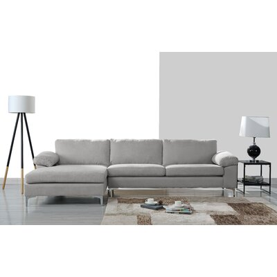 Barto Modern Large L Shape Sectional Upholstery: Light Gray
