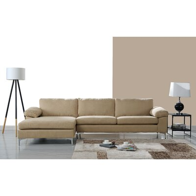 Barto Modern Large L Shape Sectional Upholstery: Beige