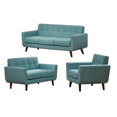 Willcox 3 Piece Fabric Living Room Set Upholstery: Aqua