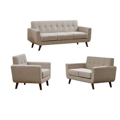 Willcox 3 Piece Fabric Living Room Set Upholstery: Gray