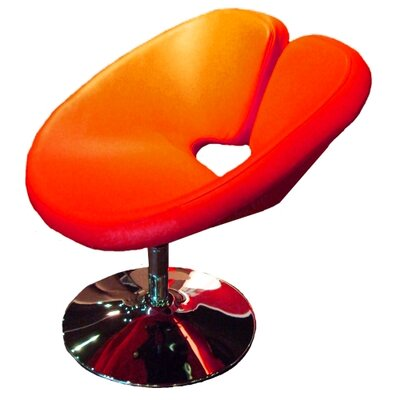 Ingle Occasional Swivel Papasan Chair Upholstery: Red