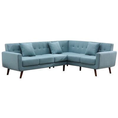 Willett Fabric Right Arm Facing Corner Sectional Upholstery: Aqua