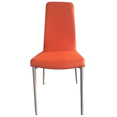 Kirtland Upholstered Dining Chair (Set of 2) Upholstery Color: Orange