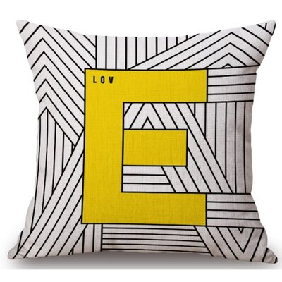 Gerner Big E Linen Throw Pillow
