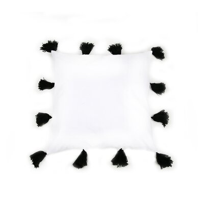 Freetown Fluffy Tassel Euro Cotton Throw Pillow Color: Black/White