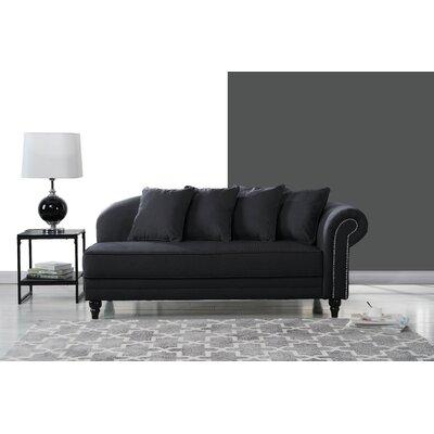 Hymes Velvet Upholstered Chaise Lounge Upholstery: Black