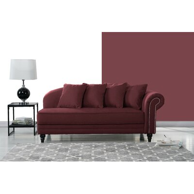 Hymes Velvet Upholstered Chaise Lounge Upholstery: Rose Red