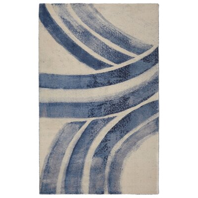 Victorine Contemporary Modern Cream/Blue Area Rug Rug Size: Rectangle 56 x 86