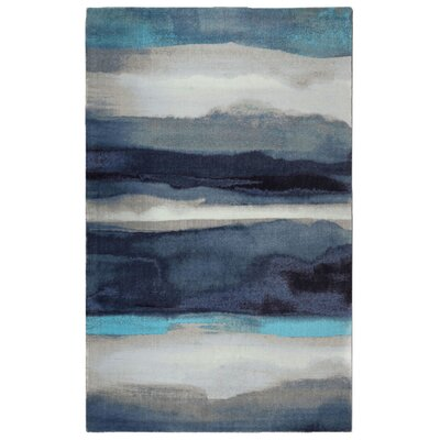 Labombard Canvas Contemporary Modern Blue/Gray Area Rug Rug Size: Rectangle 76 x 96