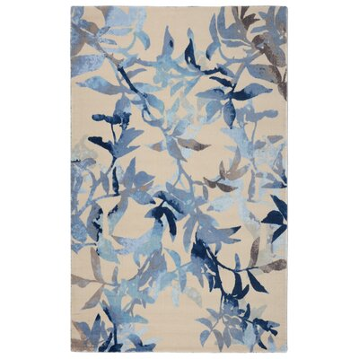 Victorine Modern Floral Blue/Beige Area Rug Rug Size: Rectangle 5 x 7