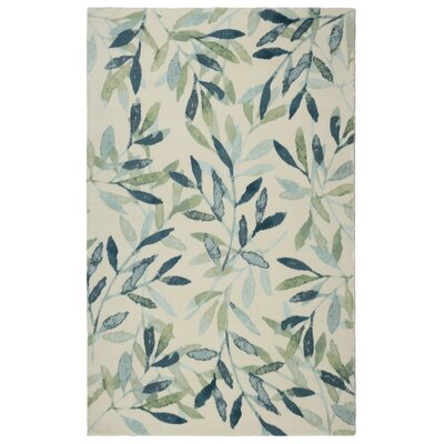 Glenmore Modern Floral Green/Beige Area Rug Rug Size: Rectangle 76 x 96