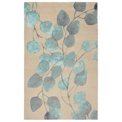 Glenmore Modern Floral Turquoise/Beige Area Rug Rug Size: Rectangle 76 x 96
