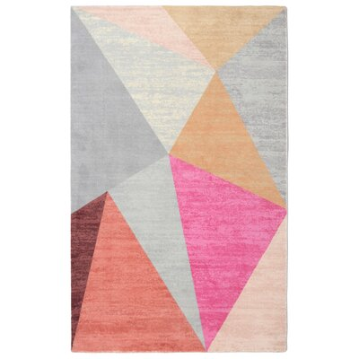 Pacheco Pyramid Mid-Century Geometric Pink/Gray Area Rug Rug Size: Rectangle 56 x 86