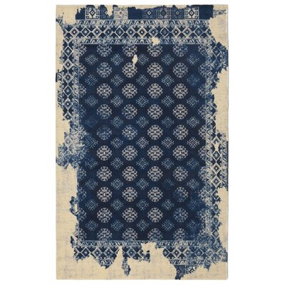 Freetown Distressed Vintage Inspired Navy/Beige Area Rug Rug Size: Rectangle 76 x 96