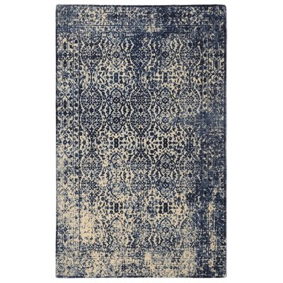 Freetown Modern Distressed Vintage Inspired Navy/Beige Area Rug Rug Size: Rectangle 76 x 96