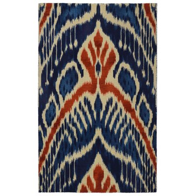 Freetown Crown Ikat Modern Bohemian Blue/Beige Area Rug Rug Size: Rectangle 56 x 86