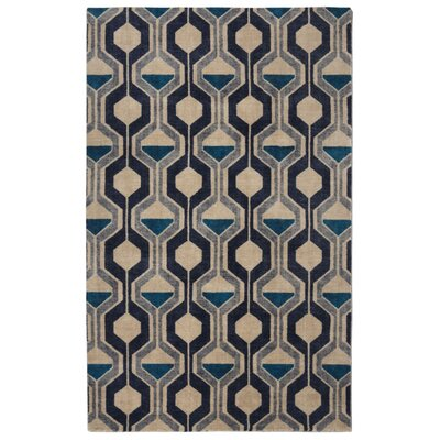 Pacheco Ring Road Mid-Century Modern Geometric Blue/Beige Area Rug Rug Size: Rectangle 56 x 86