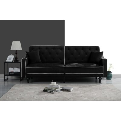 Hypes Mid Century Convertible Sofa Upholstery: Black